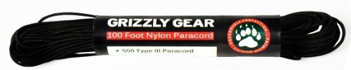 "Paracord - Type III Premium Paracord: 100 Feet, 550 LB Strength: Black by Grizzly Gear by Grizzy Gear. $5.99. Grizzly Gear Type III lb Paracord - 100 Feet, 550 LB is the ideal all-around utility cord for the field. Store it in your car, boat or recreational vehicle for that situation when you need high quality paracord.  Grizzly Gear Paracord is tough and long lasting. Measuring 5/32"" in diameter and 100 feet long, the cord is made of 550-pound test nylon and features a ..."