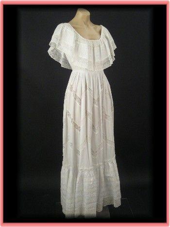 70s Vintage Mexican Wedding Dress-70's Vintage White Bohemian Gown - Blue Velvet Vintage