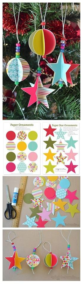 PAPER ORNAMENTS. Looks like you just fold each shape in half. Glue one half of one to one half of another 5 times. Top with a bead & a hanger and you're done. Good way to use up scraps of printed papers. You could also do hearts for Valentine's day.   Kerstballen maken met sterren en cirkels.