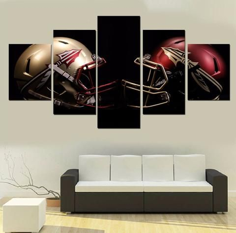 Florida State Football 5 Panel Canvas Wall Art Home Decor