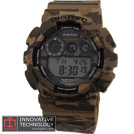 jam tangan digitec DG-2071T loreng army coklat