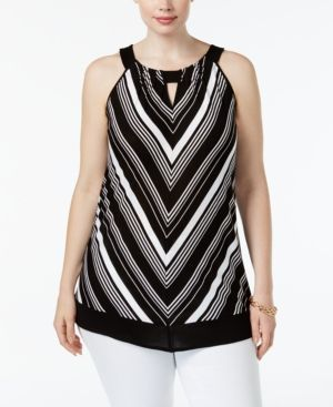 Inc International Concepts Plus Size Chevron Halter Top, Only at Macy's - Black 3X
