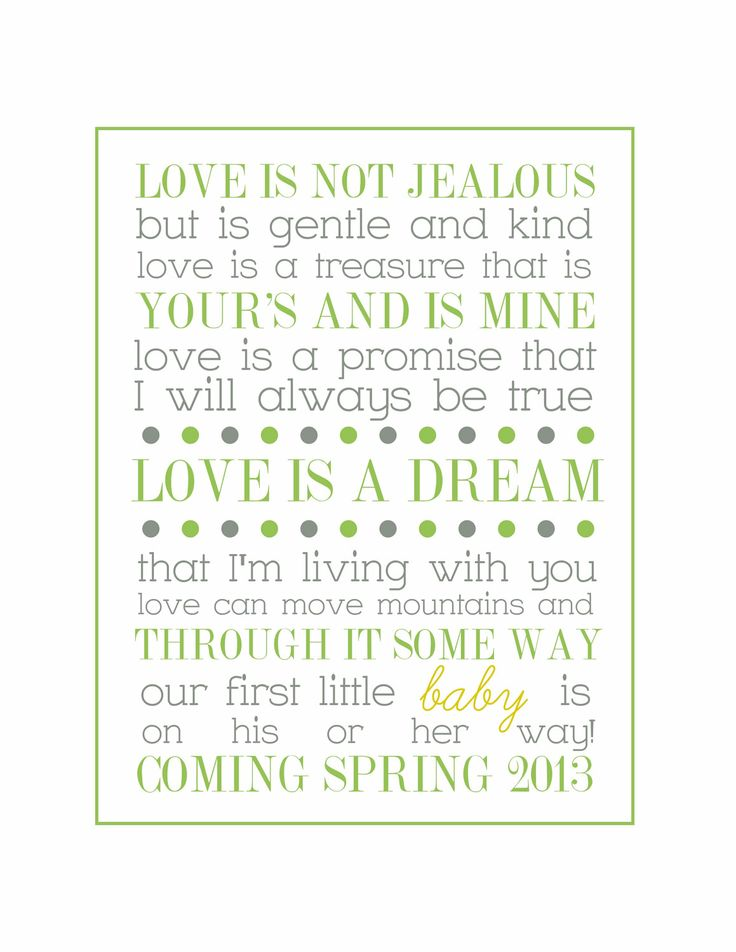 Printable Pregnancy Announcement Poem. $6.00, via Etsy.