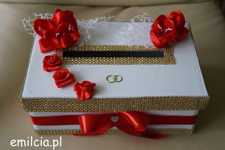 Pudełko na Koperty - Pieniążki .... Ślub, I Komunia Św., Czerwień, Biel i Złoto , Wedding Pudełka