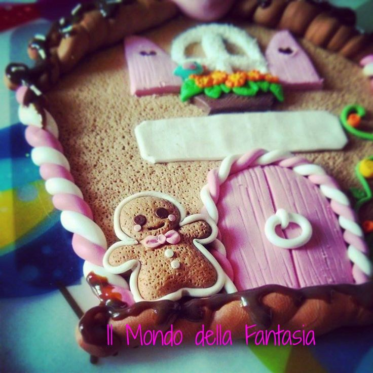"""Polymer clay """"Gingerbread house"""" Targhetta fuori porta - Il Mondo della Fantasia"""