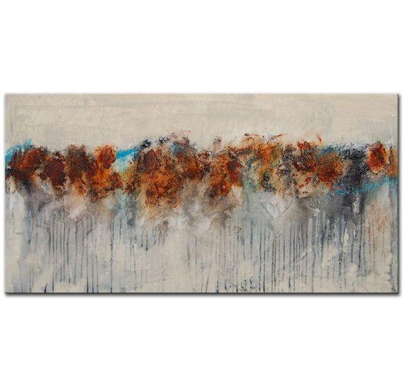 Grande astratto dipinto bianco grigio marrone blu di BuyWallArt