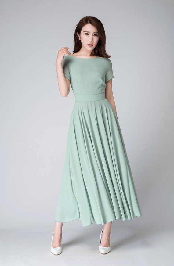 Mint chiffon dress, maxi dress women, bridesmaid dress, summer dress, fit and flare dress, formal dress, womens dress, evening dress 1521 2