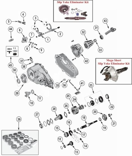 new process np231 transfer case parts exploded view. Black Bedroom Furniture Sets. Home Design Ideas