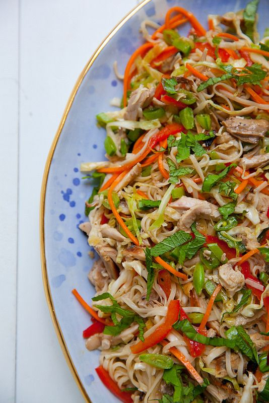 Spicy Rice Noodle Salad with Chicken and Crunchy Veggies–Annie's Eats
