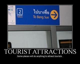 How quickly can you get there? :)  (This is a very real train station in Bangkok)