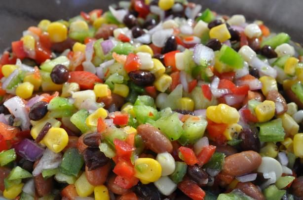 If raw onions must be present, perhaps they can be shaved and tossed in. Carribean Bean and Corn Salad