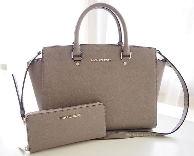Michael Kors Selma bag (medium size) in Pearl Gray / Michael Kors Jet Set Wallet in Pearl Gray