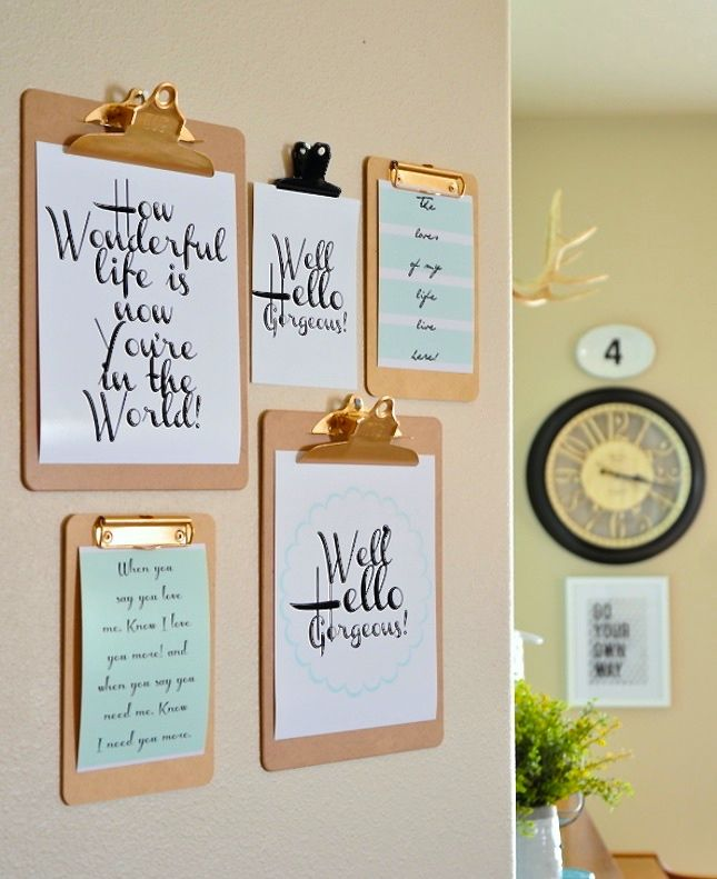 Love these typography prints on clip boards - 17 Printables for Your Gallery Wall via Brit + Co.