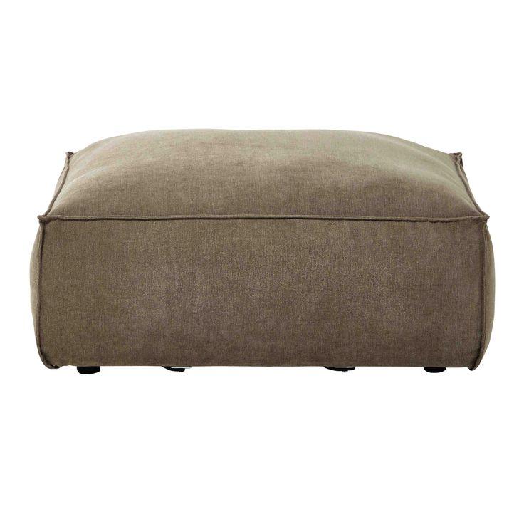 Puf de sof� modulable de tela gris topo mezclilla Rubens