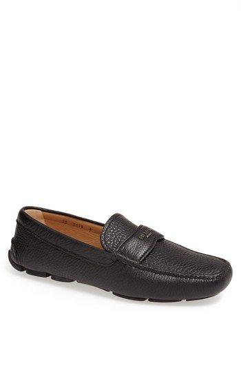 mens prada leather loafer