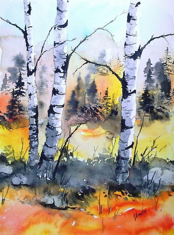 Birke Baum Kunst Aquarell ursprüngliche Landschaft von pinetreeart