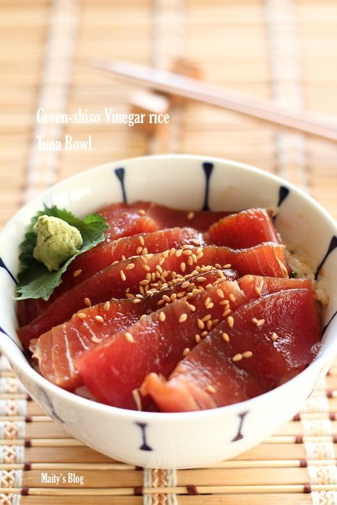 さっぱり美味しい簡単! 大葉香る酢飯でマグロの漬け丼 レシピ