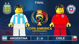 Brick film reconstruction of the Copa America 2016 Final between ARGENTINA and CHILE.  Final Copa America Centenario 2016  Argentina vs Chile 2-4  Lego Football  Goals and Highlights