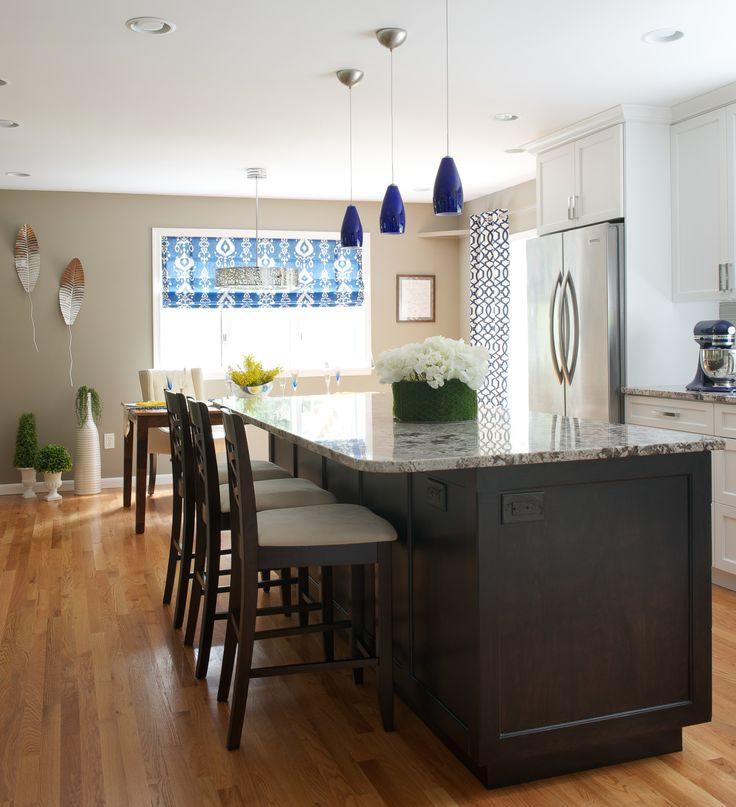 Contemporary kitchen remodel bianco antico granite stainless steel fridge large center - Stainless steel kitchen pendant lighting ...