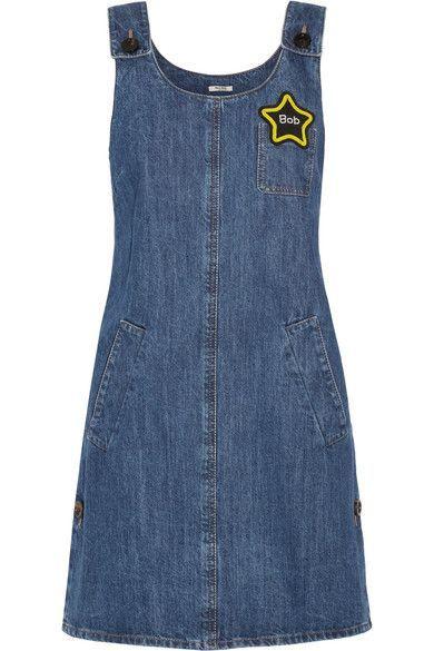 MIU MIU Appliquéd Denim Mini Dress. #miumiu #cloth #dresses