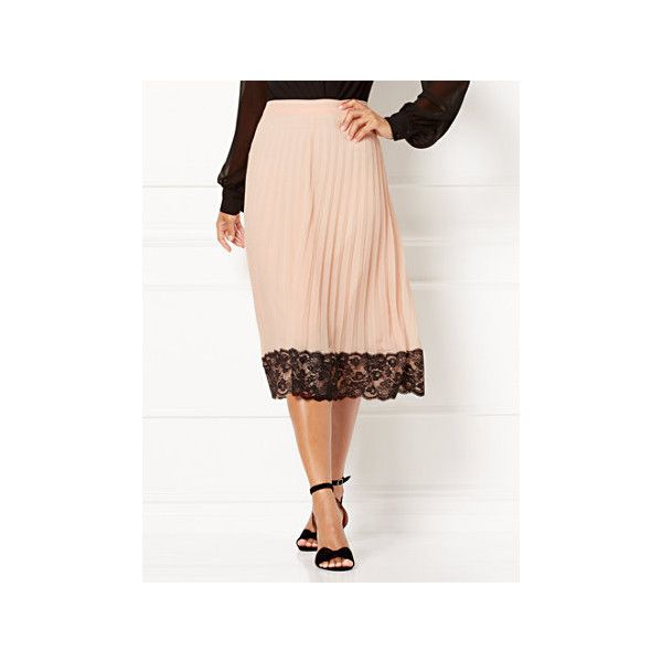 Eva Mendes Collection Myleene Pleated Skirt ($49) ❤ liked on Polyvore featuring skirts, pink, long pleated skirt, long white pleated skirt, white maxi skirt, full pleated skirt and pink skirt