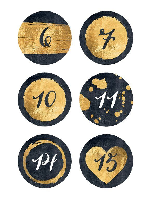 Advent Calendar Numbers Gold Black Potpourri Blobs Hearts Gold