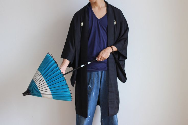 Etsy のkimono men, black kimono cardigan, mens haori, Samurai cosplay…