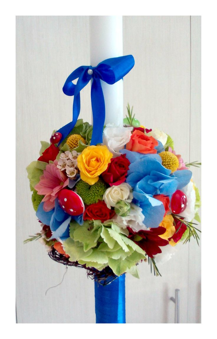 Colorfull baptism candle