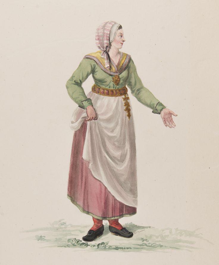 Småland. Kvinna i dräkt. Akvarell i storformat av C.W. Swedman. @ DigitaltMuseum.se