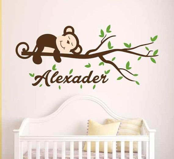 Nursery children name decal-personalized name wall sticker with monkey-vinyl kids name decal for bedroom-tree branch name wall sticker art