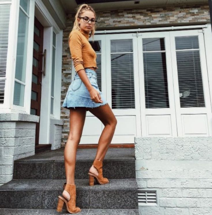 Orange long sleeve sweater + denim mini skirt + sueded block heels. Cute date outfit idea for valentines.