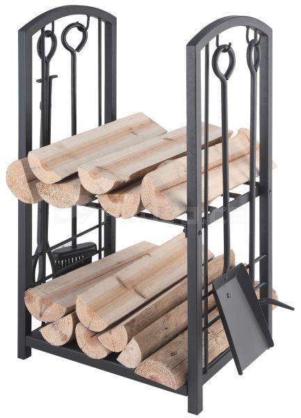 Klikni pro zvětšení - Kovový koš na dřevo + krbové nářadí mod.208