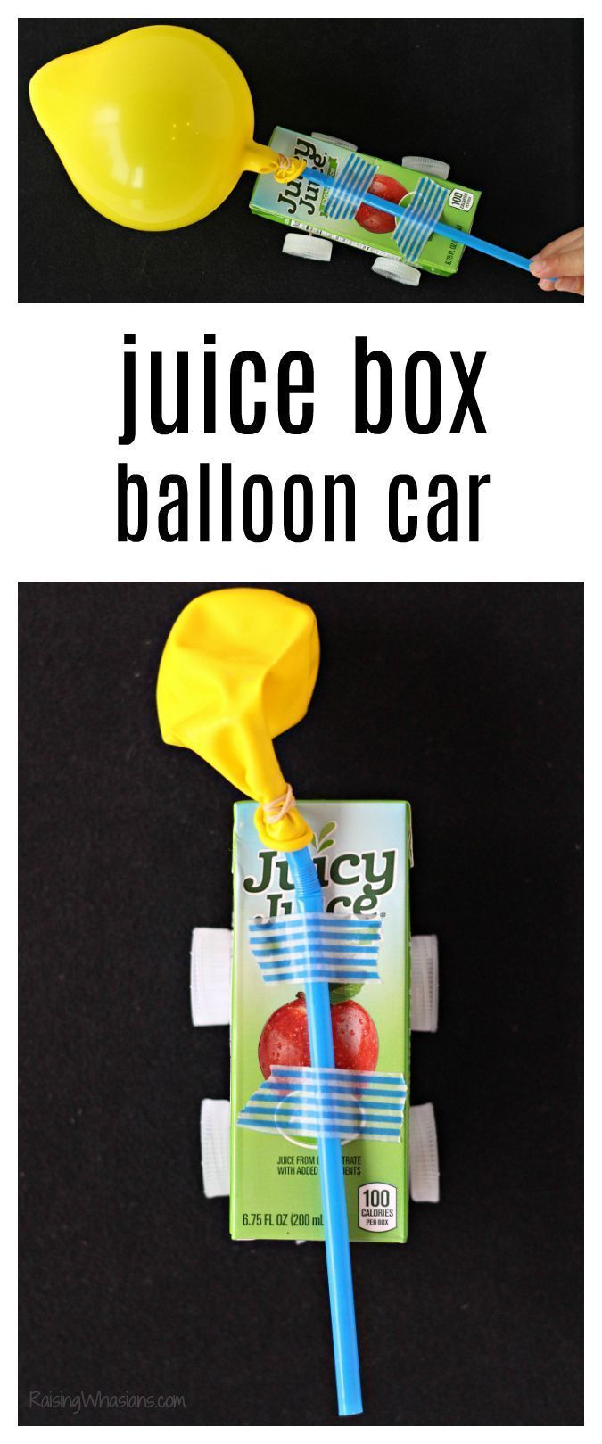 Juice Box Balloon Car Craft   Make your own DIY derby car with this upcycle STEM project with your kids -