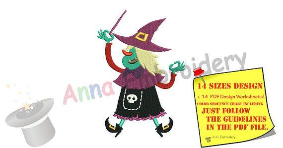 Witch Halloween Embroidery Designs-Old Witch Witchcraft