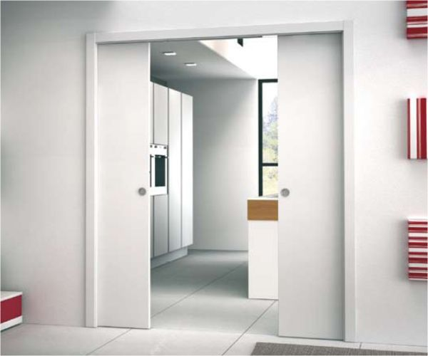 £449-£495 kit for double doors. Quick and easy to fit, bolts into 75mm stud work creating a 100mm wall finish when used with two 12.5mm plasterboards (not supplied)Supplied with wooden jambs dust brushes, recessed door posts and rubber gasketsSuitable for use with 35mm - 44mm thick doors. Max door weight 80kg. (120kg on request)When fitting flush pull handles we recommend the stop be regulated so the door protrudes from the pocket to avoid risk to fingers.Should the door be set to enter the…
