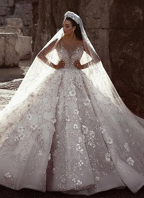 Luxury Beading Floral Bridal Gowns | Sheer Neck Long Sleeves Ball Gown Wedding Dresses