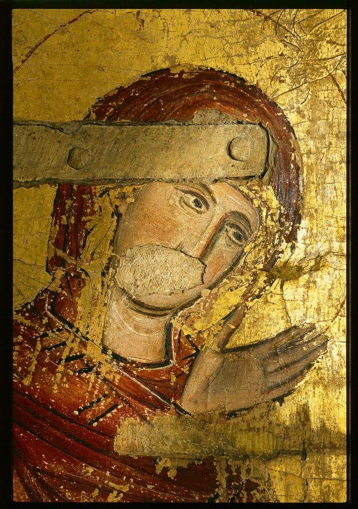 Reliquienschrank aus der Liebfrauenkirche, Detail: Kopf der Jungfrau Maria, 2.Viertel 13. Jh; Domschatz Halberstadt