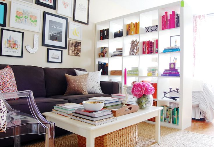 Living room with pretty bookcase!