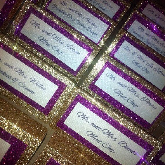 You are looking at a placecard that has a gold sparkle background...a fuschia sparkle overlay... Shown with a cursive font.  You can choose any colors or font that youd like! These place cards are made to order so if youd prefer a placecard with a table number, that can also be done. If you have a special font in mind that you like...that can be easily changed. If you have a totally different type of placecard that you envisioned, contact me, and Ill show you all the different options you…