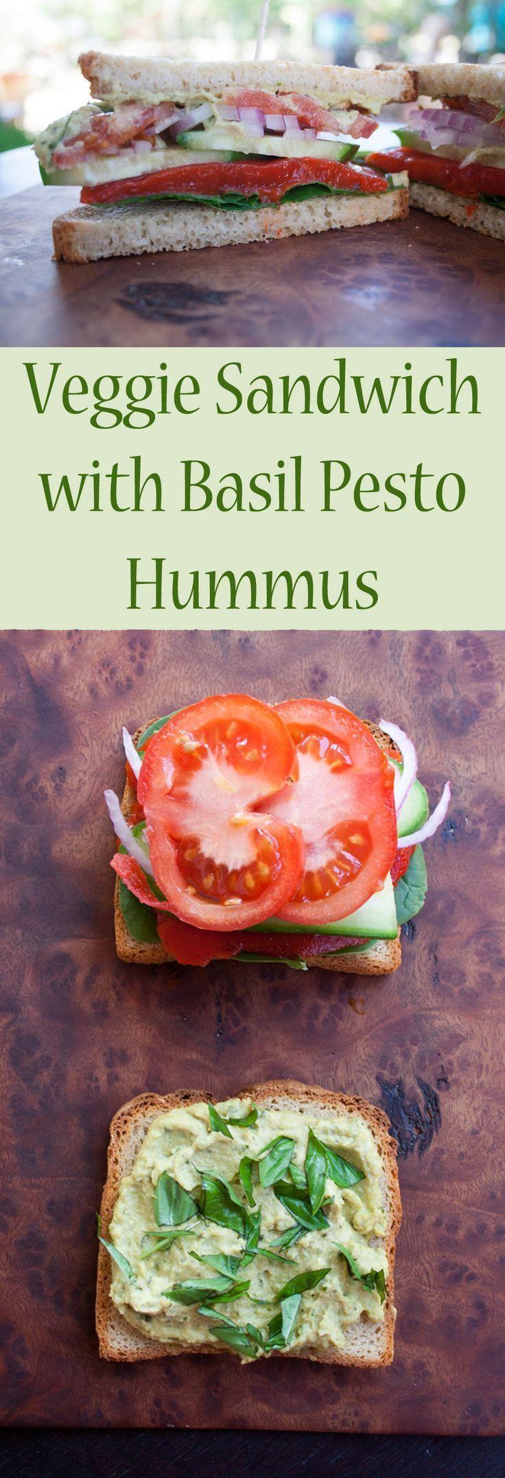 Veggie Sandwich with Basil Pesto Hummus (vegan, gluten free) – This savory sandw…