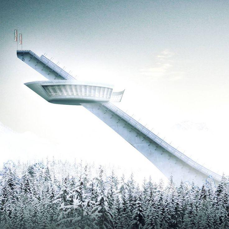 """Ski jump """"Schattenbergschanze"""". Carlos Zwick Architekten #design #concept #skijump #oberstdorf  #architecture #architektur #snow #render #rendering #3d #archviz #visualization #deutschearchitektur #archilovers #architecturelovers #amazingarchitecture #archdaily #tv_architectural #tv_buildings #picoftheday #bestoftheday"""