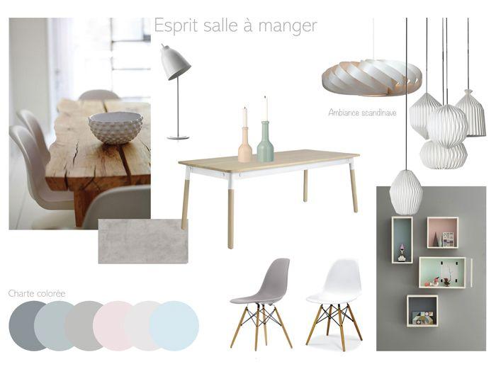Planche de tendance pour l'aménagement et la décoration d'une salle à manger. Esprit scandinave.