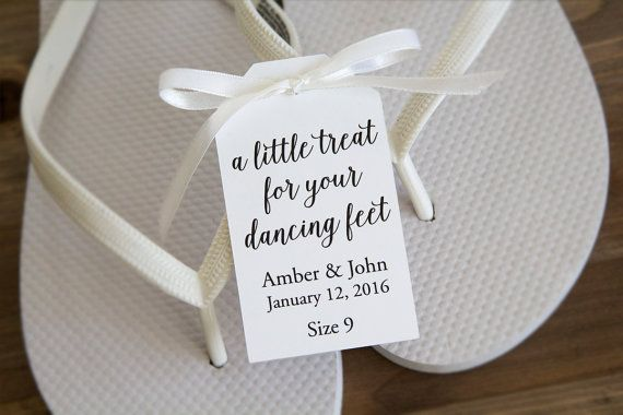 A little treat for your dancing feet - Flip Flop Tags - Slipper tags - Wedding…