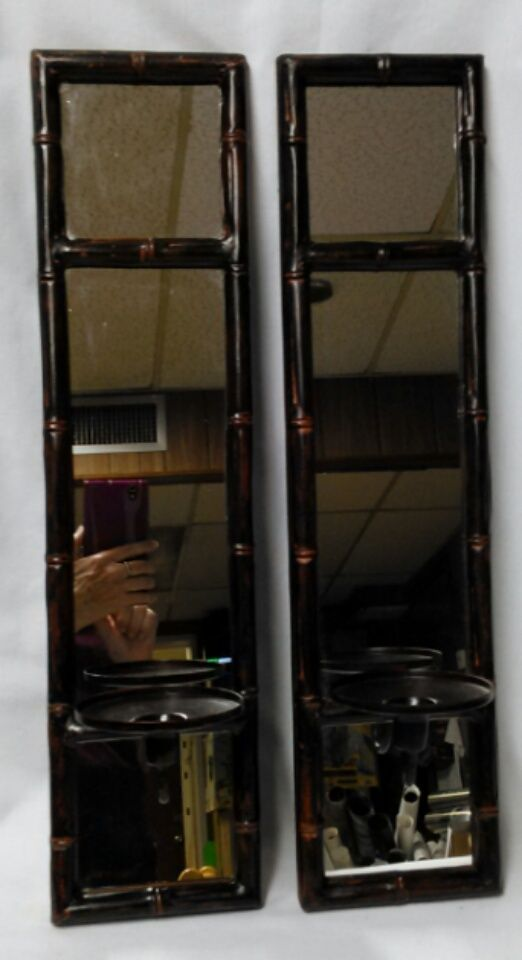 bamboo design sconces with mirror set of 2 retired