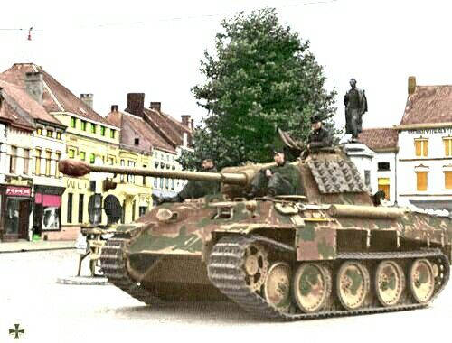 German Panzer V Ausf. A. Panther, 1944. Notice the tank tracks (links) hanging on the turret.