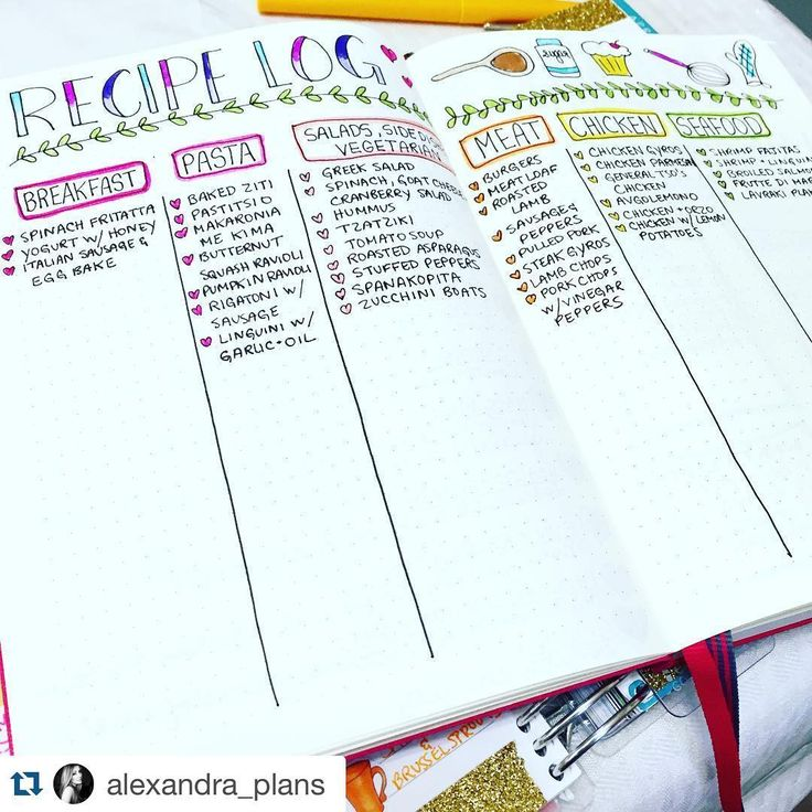 Check out this beautiful #recipe tracker from @alexandra_plans. . ・・・ Major inspiration for this recipe log goes out to @christina77star! I loved the idea of putting down all the dishes I've ever made into categories and keeping a log, that way when I'm stumped on what to make for dinner, I have instant ideas! I plan on creating a separate page for all the desserts I've ever made as well! 3.26.16 // #plan #planner #plannergeek #plannergirl #plannerlife #planneraddict #plannergoodie...