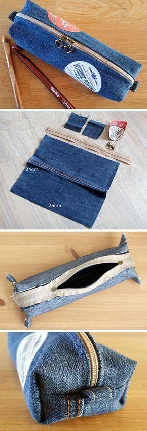 Denim make-up bag or Pencil Case Tutorial DIY http://www.handmadiya.com/2016/10/cosmetic-bag-or-pencil-case-of-jeans-diy.html: