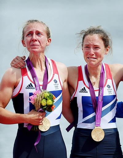 Great Britain's Sophie Hosking and Katherine Copeland sob after getting their gold medals for winning the women's rowing lightweight double scullsPhotograph: Steven Paston/Action Images