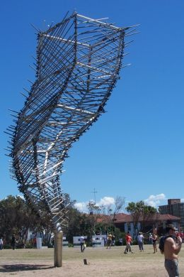 """Structural Wind"" by Jarrod Taylor, made of pre fabricated structural steel, tube, fitting scaffold. According to the sculptor his aim is to capture the movement of something so unattainable. His sculptor endeavours to push and discover new direction"