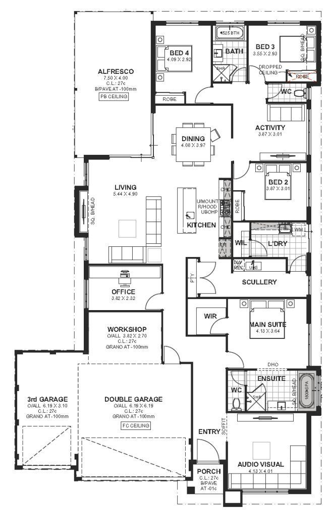 House Plan To Suit 17m Wide Blocks In Perth If You Re Looking To Build On A 17 17m Blocks Bui House Plans Two Storey House Plans Bungalow House Plans